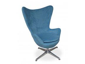 Designové křeslo Avo, pohodlné, modrá látka