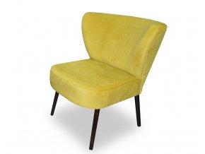 Designové barové křeslo Club, žlutá barva, kulaté nohy