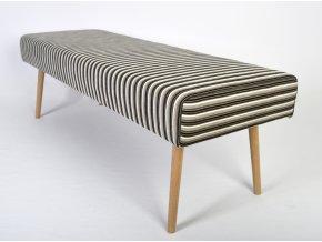 Designový dlouhý taburet Sandy, retro, kulaté nohy