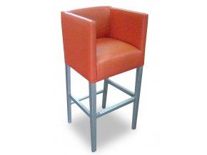Designové barové křeslo se zesíleným sedákem, červená koženka