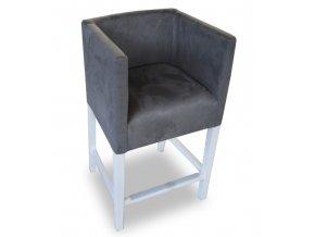 Designové barové křeslo se zesíleným sedákem, šedé, bílé moření nohou