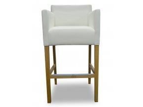 Designové barové křeslo se zesíleným sedákem, bílá koženka