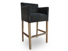 Designové barové křeslo se zesíleným sedákem, černé, snížené područky
