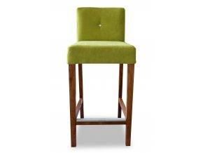 Dřevěná barová židle s kamínkem a zeštíhleným sedákem