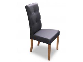 Designová prošitá židle Luxury, černá koženka