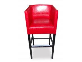 Designové barové křeslo se šikmým sedákem, červená koženka