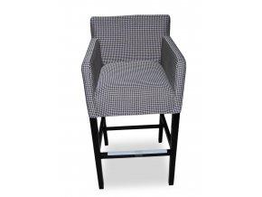 Designové barové křeslo se zesíleným sedákem, čalouněné šedé