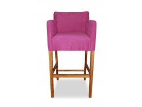 Designové barové křeslo se zesíleným sedákem, vysoké růžové