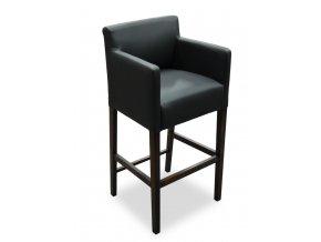 Designové barové křeslo se zesíleným sedákem, černá koženka