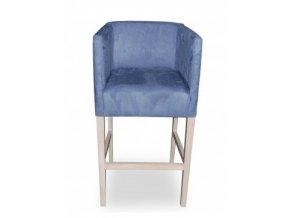 Designové barové křeslo se zesíleným sedákem, světle modré čalouněné