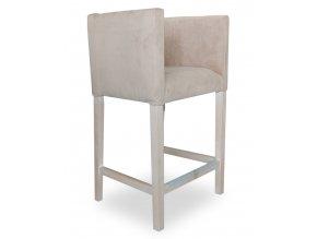 Designové barové křeslo se zeštíhleným sedákem, bílé
