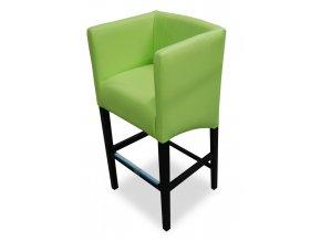 Designové prošité barové křeslo, zelená koženka