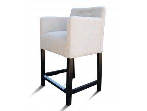 Designové prošité barové křeslo s knoflíky, stylové bílé