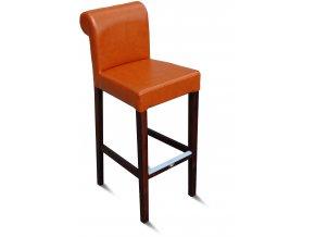 Dřevěná barová židle Roller, vysoká čalouněná oranžovou koženkou